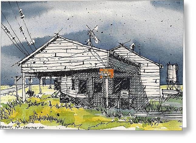 Greeting Card featuring the mixed media Midway Texas Fillin' Station by Tim Oliver