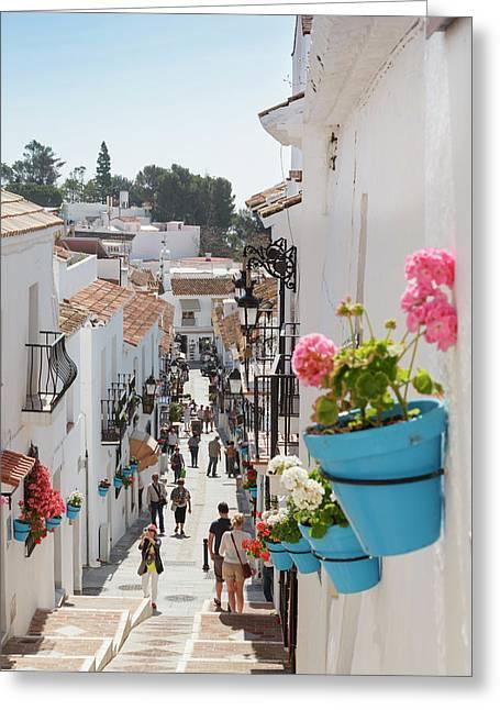 Mijas, Costa Del Sol, Spain.  Calle San Greeting Card by Ken Welsh