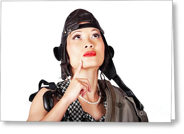 Military Female Pinup Model In Fighter Pilot Cap Greeting Card
