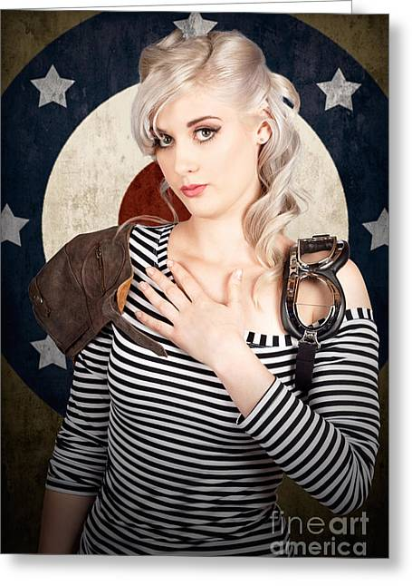 Military Pin Up Woman Taking Airplane Pilot Oath Greeting Card