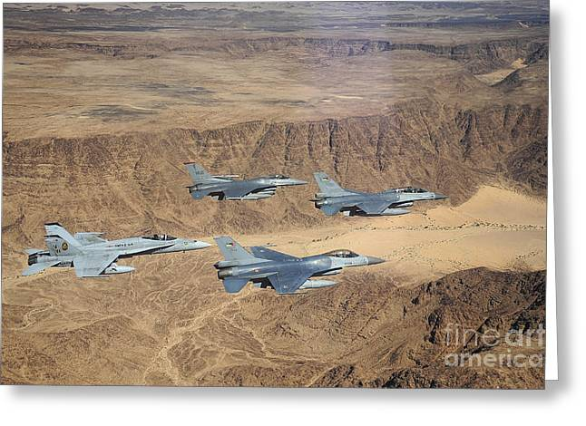 Military Planes Flying Over The Wadi Greeting Card