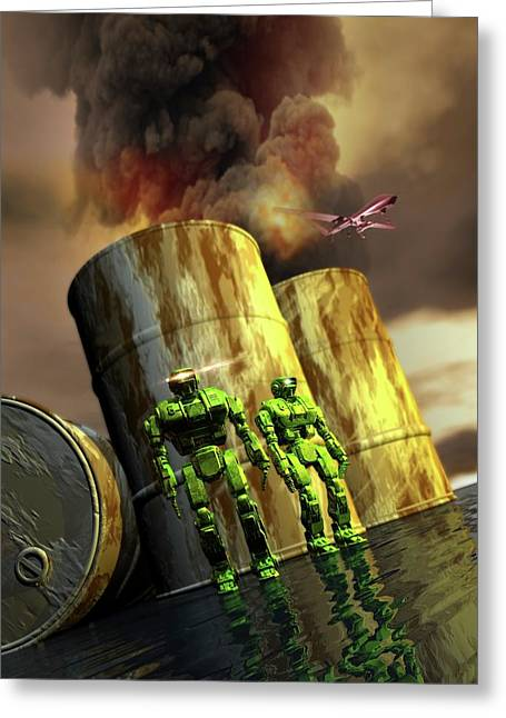 Military Robots Greeting Card by Victor Habbick Visions