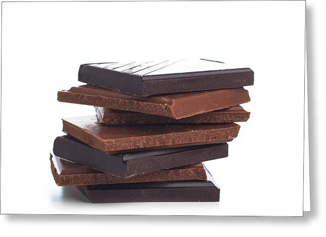 Milk And Dark Chocolate Greeting Card by Science Photo Library