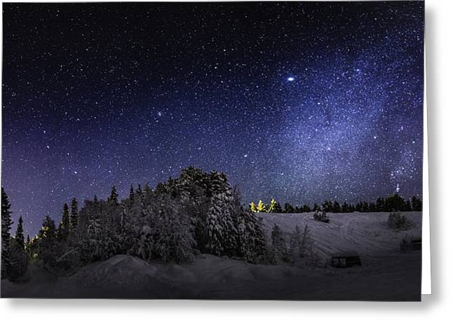 Milky Way Galaxy With Aurora Borealis Greeting Card by Panoramic Images