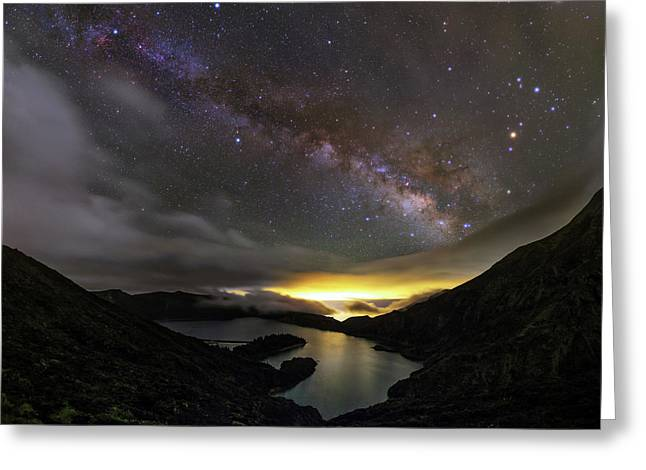 Milky Way Over Lagoa Do Fogo Greeting Card