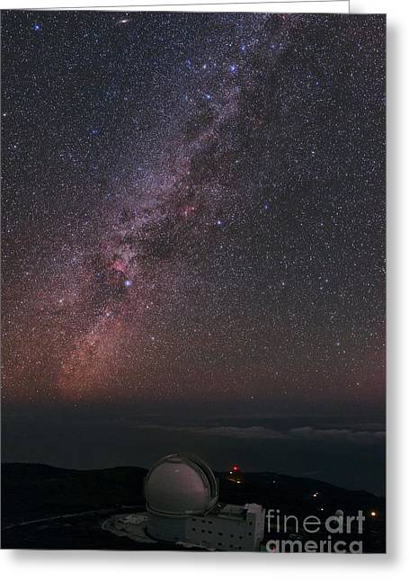 Milky Way Over William Herschel Telescope Greeting Card by Babak Tafreshi
