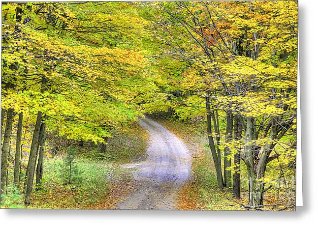 Miller Hill Road In Fall Greeting Card by Twenty Two North Photography
