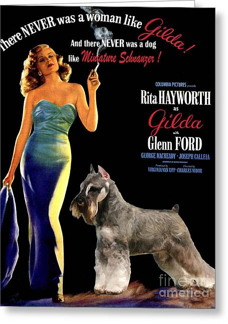 Miniature Schnauzer Art Canvas Print - Gilda Movie Poster Greeting Card