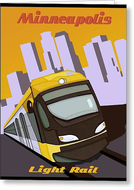 Minneapolis Light Rail Travel Poster Greeting Card
