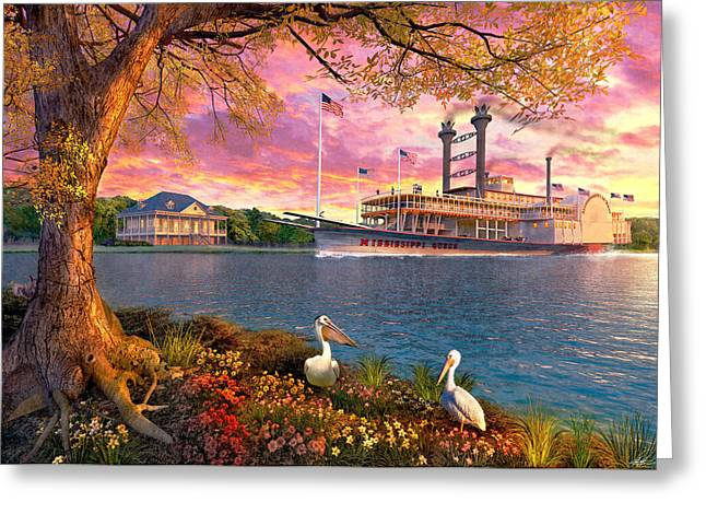Mississippi Queen Greeting Card by Dominic Davison