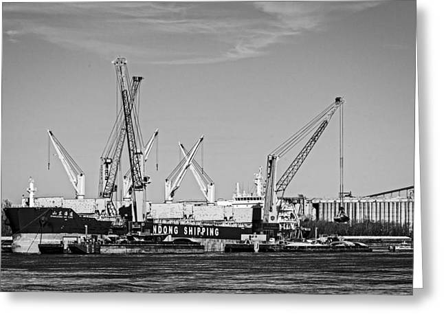 Mississippi River Shipping Greeting Card by Andy Crawford