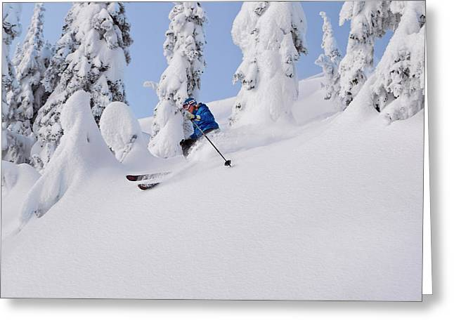 Mistie Fortin Skis Powder At Whitefish Greeting Card