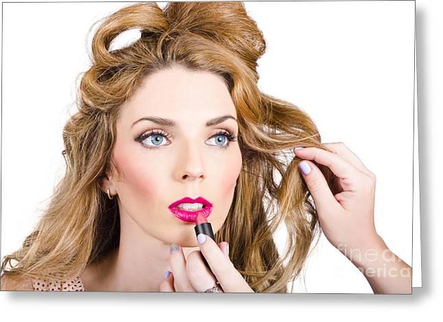 Model Makeup At Work Greeting Card
