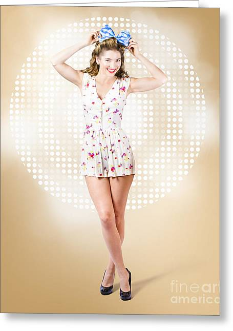 Modelling Pinup Girl Wearing Bow Hair Accessory Greeting Card by Jorgo Photography - Wall Art Gallery