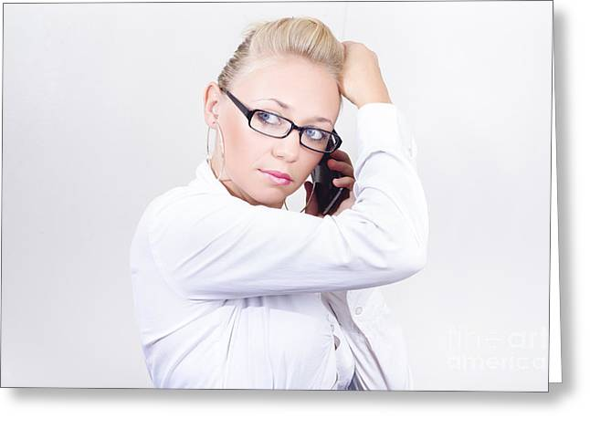 Modern Executive Businesswoman On Smartphone Greeting Card by Jorgo Photography - Wall Art Gallery