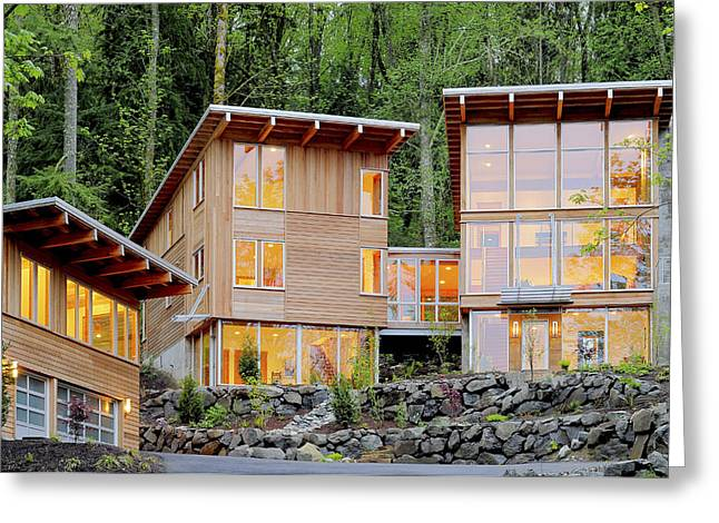 Modern House In Woods Greeting Card by Will Austin