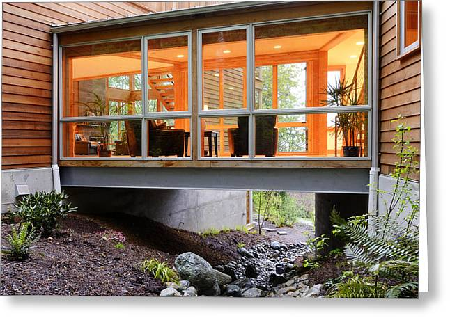 Modern House Over Rocky Creek Greeting Card by Will Austin