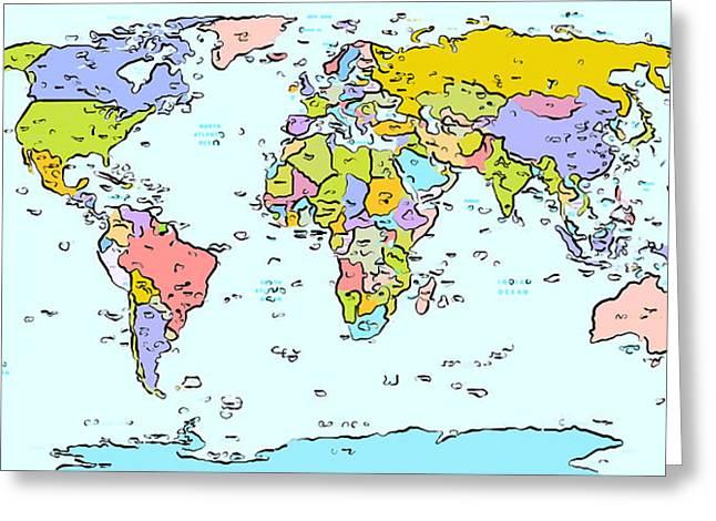 Modern World Map Greeting Card