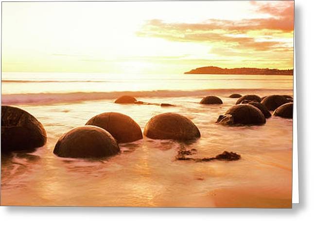 Moeraki Boulders On The Beach Greeting Card by Panoramic Images