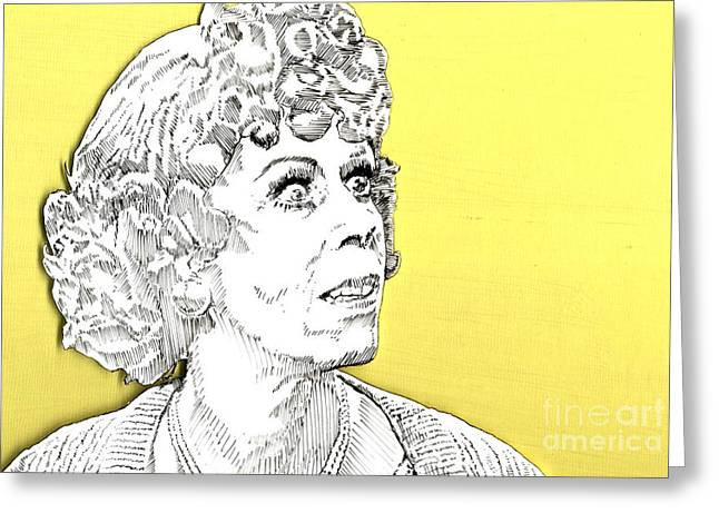 Greeting Card featuring the mixed media Momma On Yellow by Jason Tricktop Matthews