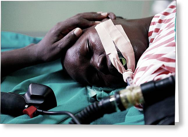 Monitoring A Patient's Heart Rate Greeting Card by Mauro Fermariello/science Photo Library