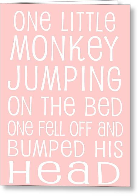 Monkey Jumping On The Bed Greeting Card by Jaime Friedman