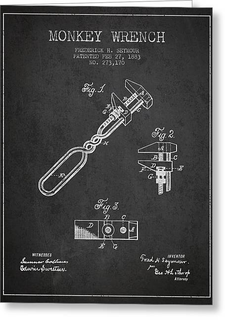 Monkey Wrench Patent Drawing From 1883 Greeting Card by Aged Pixel