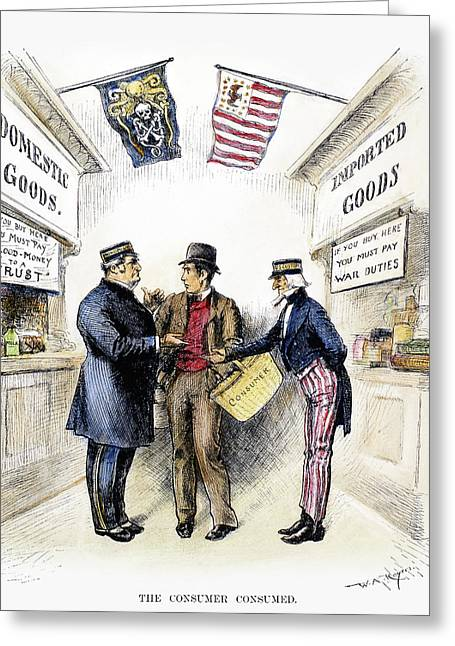 Monopoly And Tariffs, 1888 Greeting Card