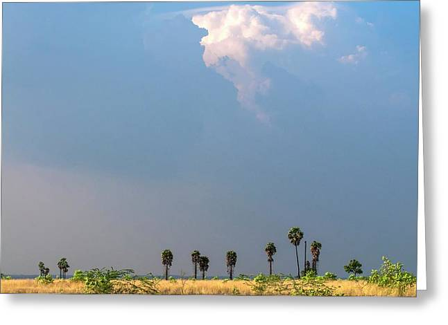 Monsoon Clouds Over Landscape Greeting Card by K Jayaram