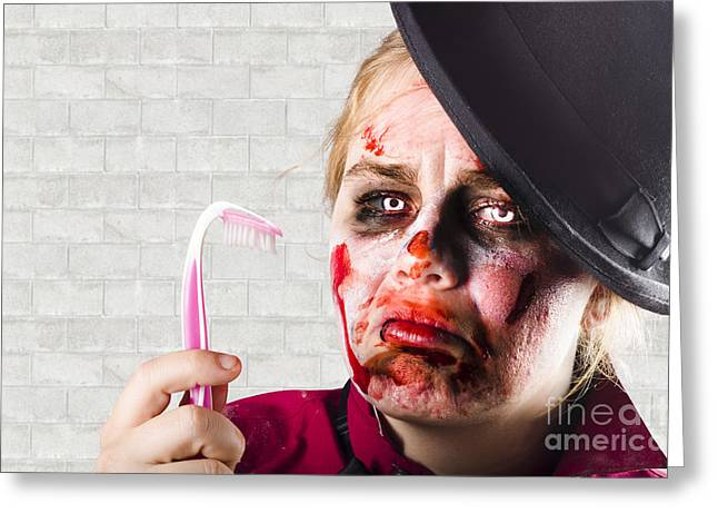 Monster Holding Sad Toothbrush. Rotting Teeth Greeting Card by Jorgo Photography - Wall Art Gallery