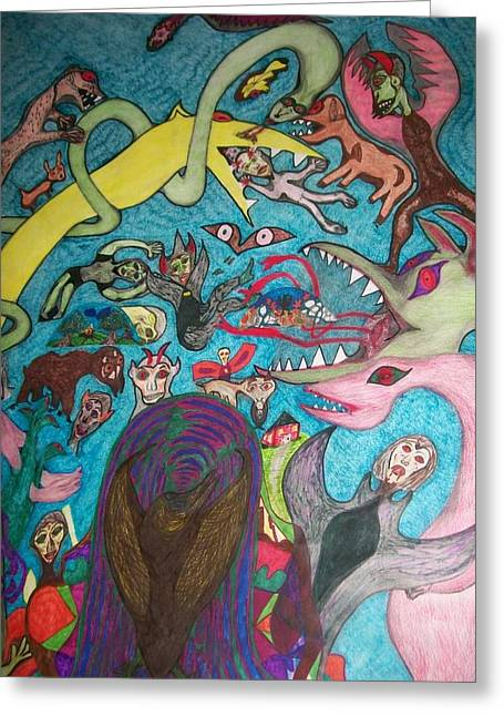 Greeting Card featuring the painting Monsters Paradise by Jonathon Hansen