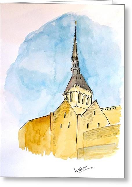 Mont Saint Micheal Greeting Card