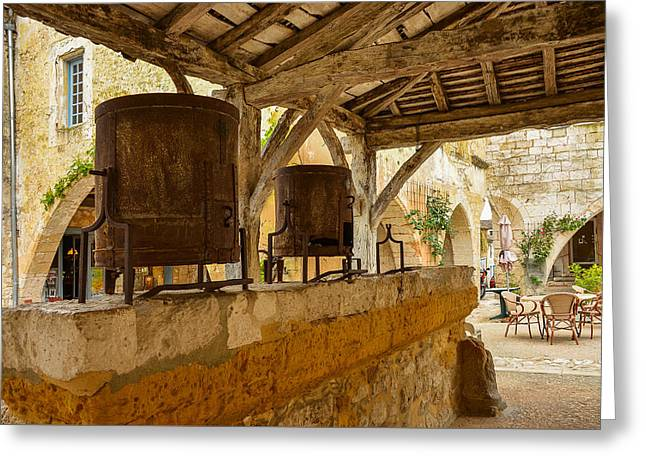 Greeting Card featuring the photograph monpazier en Perigord by Dany Lison