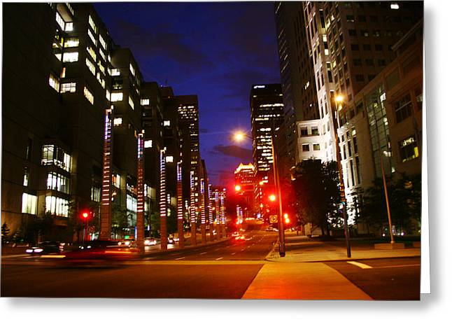 Montreal By Night Greeting Card by Isabel Poulin