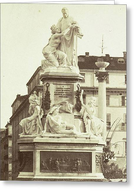 Monument To Camillo Benso Conte Di Cavour By Giovanni Greeting Card by Artokoloro