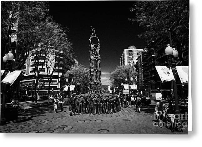 Monument To The Castellers On Rambla Nova Avenue In Central Tarragona Catalonia Spain Greeting Card by Joe Fox