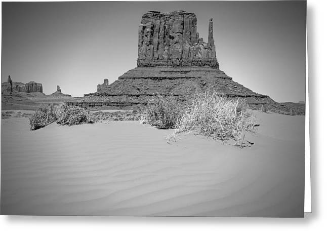 Monument Valley - West Mitten Butte Bw Greeting Card by Melanie Viola