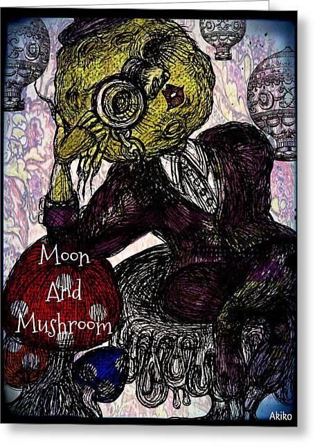 Moon And Mushroom Greeting Card by Akiko Okabe