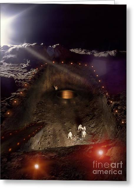 Moon Base Construction Greeting Card by Richard Kail