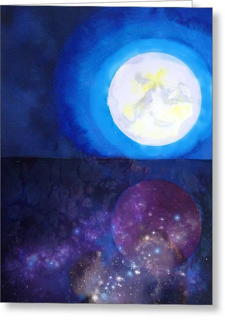 Moon Cosmos Greeting Card by Tara Thelen