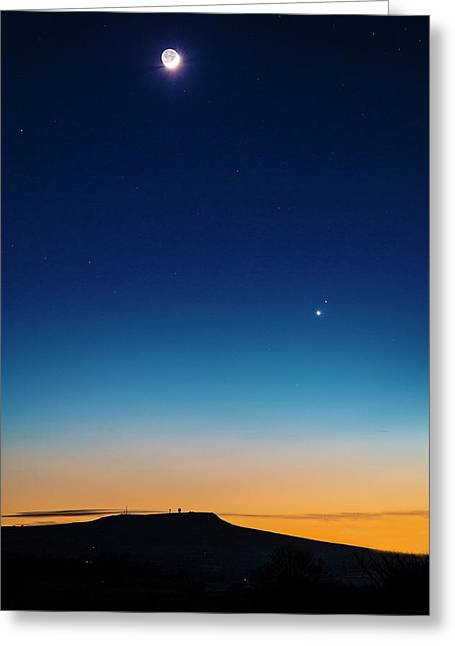 Moon In A Twilight Sky With Venus And Mar Greeting Card by Chris Madeley