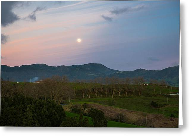 Moon Over The Hills Of Povoacao Greeting Card