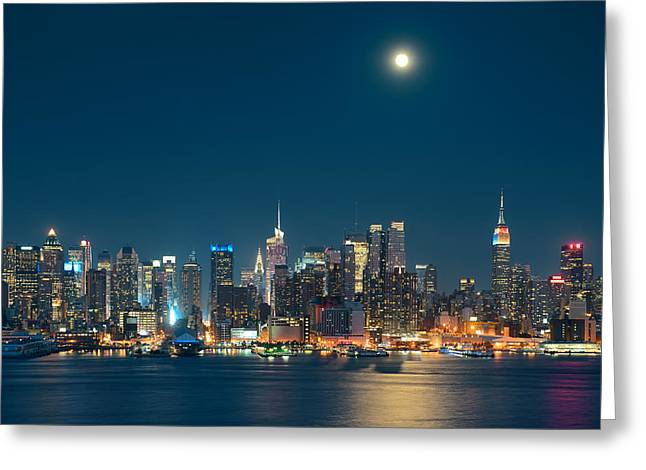 Moon Rise Manhattan Greeting Card