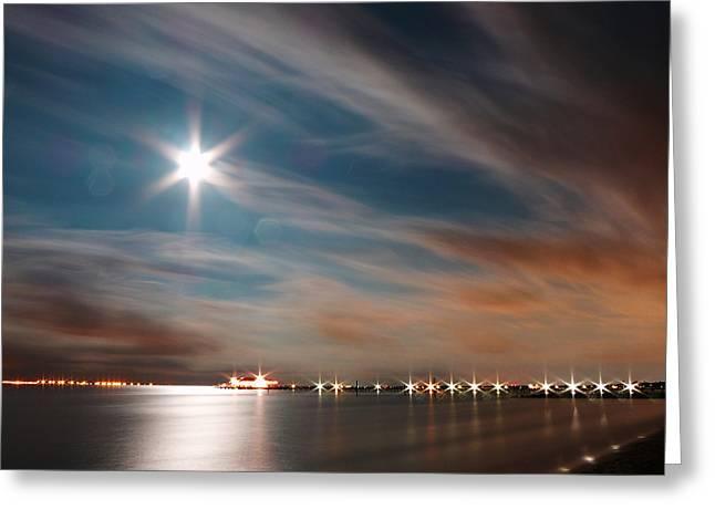 Moon Rise Over Anna Maria Island Historic City Pier Greeting Card