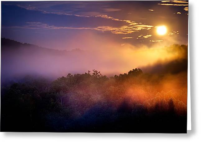 Moon Setting In Mist Greeting Card