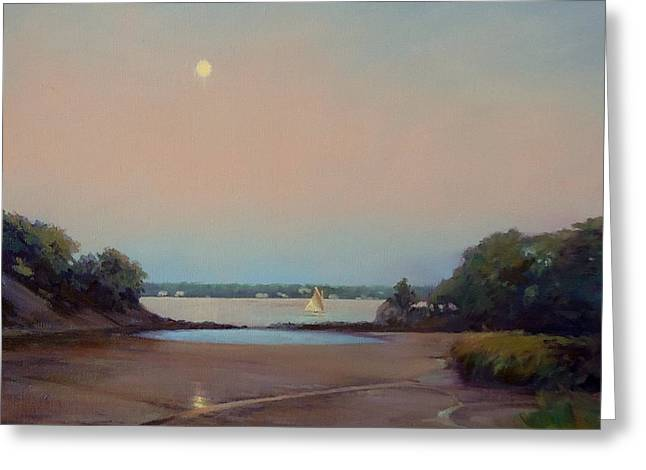 Moonlight Sail Greeting Card by Dianne Panarelli Miller