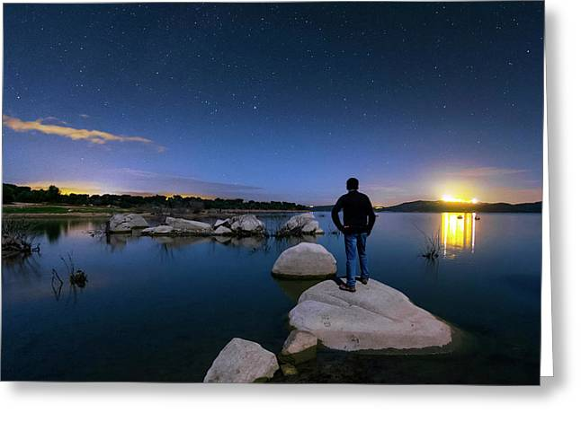 Moonlit Lake Alqueva Greeting Card by Babak Tafreshi