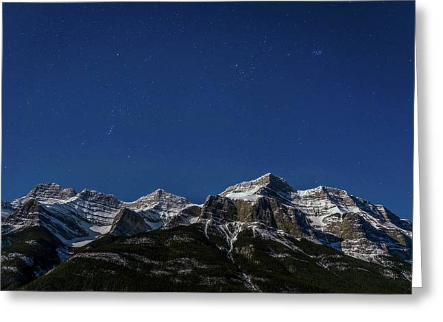 Moonlit Mountain And Stars, Mount Greeting Card by Panoramic Images