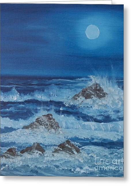 Greeting Card featuring the painting Moonlit Waves by Holly Martinson