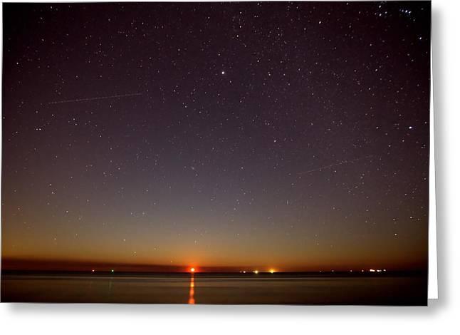 Moonrise On Tybee Island Greeting Card